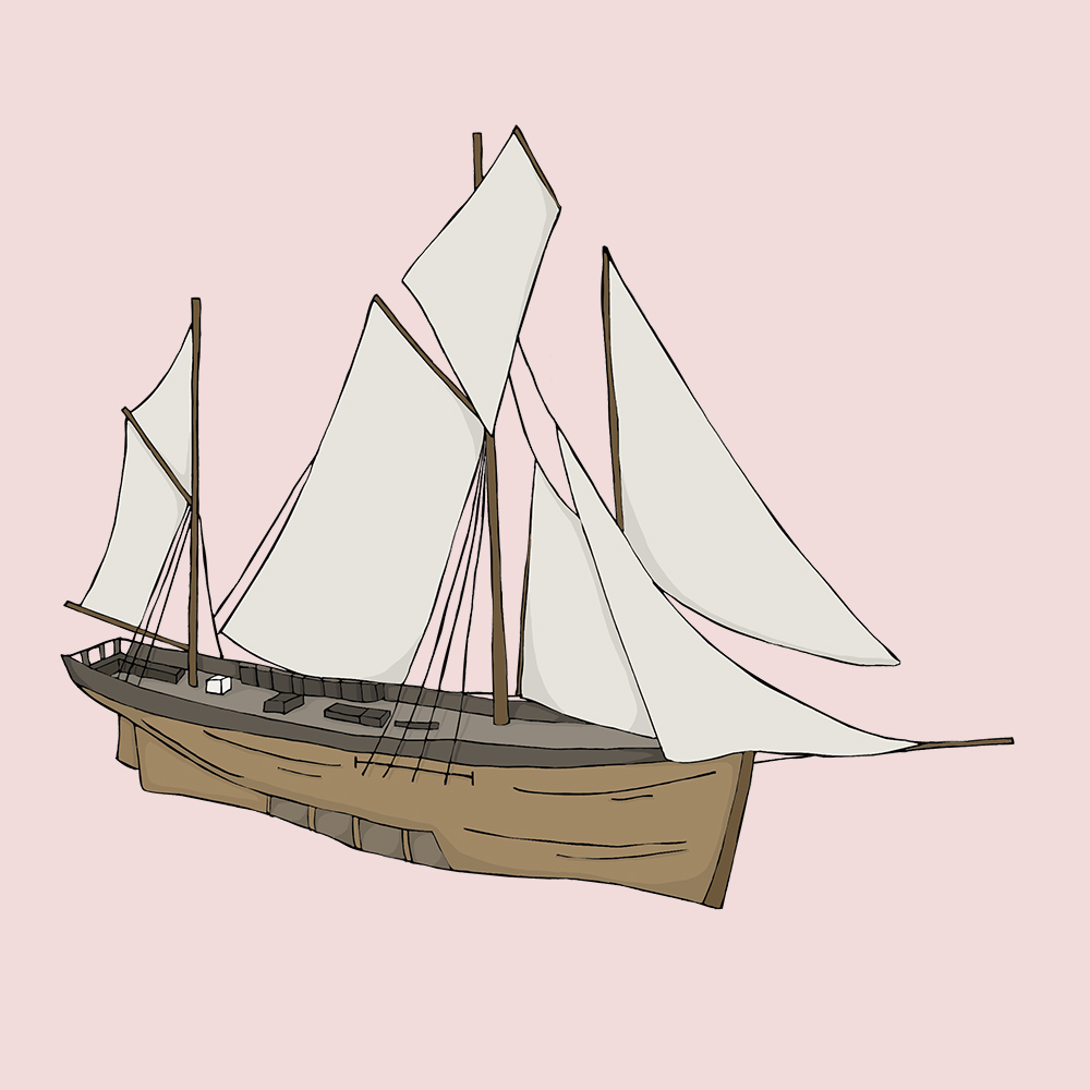 Hull Maritime Museum illustration - Sailing ship